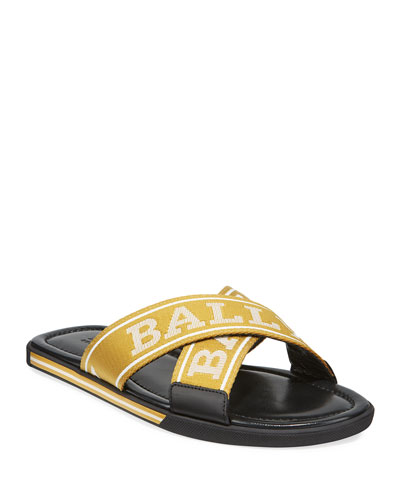 Men's Logo Leather Slide Sandals
