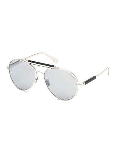 164d73675dee Men's Metal Aviator Sunglasses with Mirrored Photochromic Lenses
