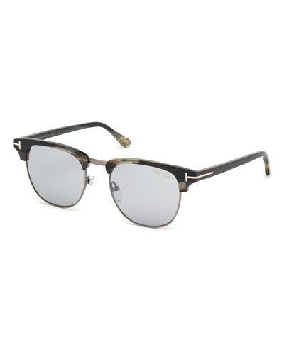 Men's Tom N.17 Half-Rim Horn Sunglasses with Photochromic Mirror Lenses