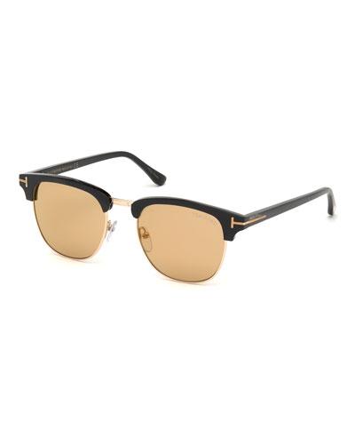 Men's Tom N.17 Half-Rim Horn Sunglasses with Photochromic Flash Lenses