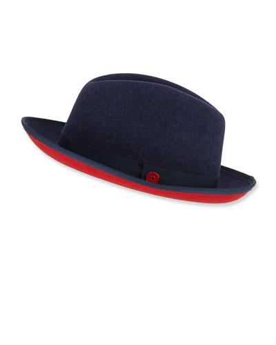 Men's King Red-Brim Wool Fedora Hat, Blue