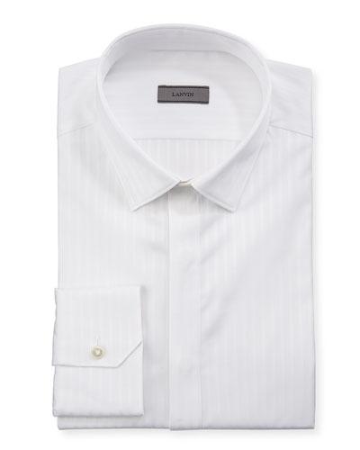 Men's Tonal Stripe Hidden-Placket Dress Shirt