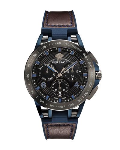 Men's 45mm Sport Tech Chronograph Watch, Brown