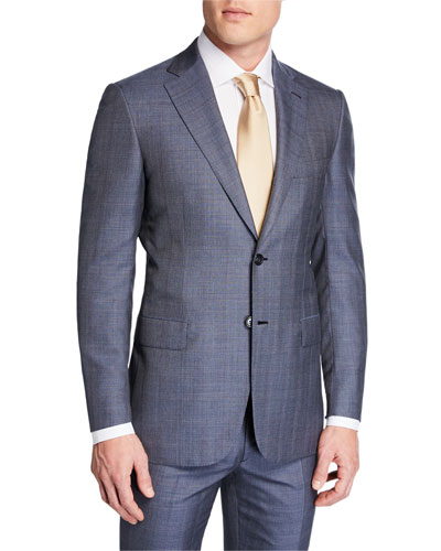 Men's Plaid Wool-Silk Two-Piece Suit