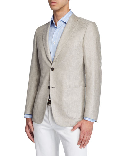 Men's Solid Cashmere-Silk Two-Button Jacket