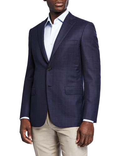 Men's Plaid Wool-Silk Two-Button Jacket