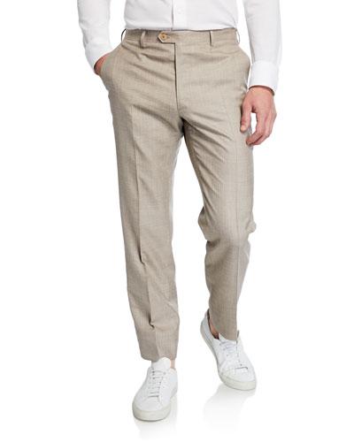 Men's Flat-Front Wool/Linen-Blend Dress Pants