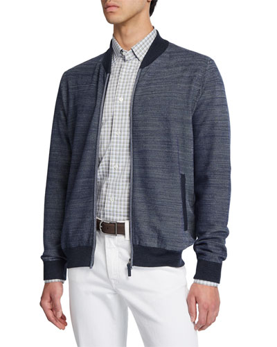 Men's Diagonal Weave Zip-Front Cardigan with Elbow Patches