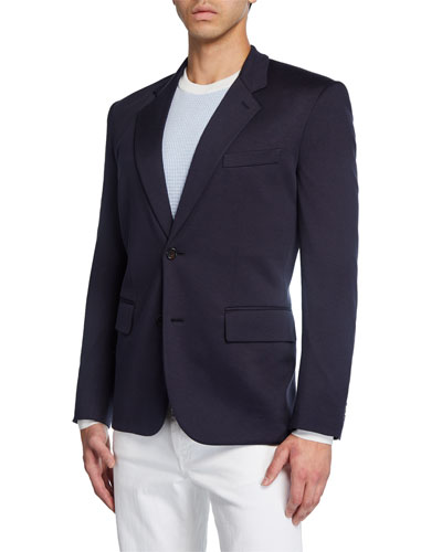 Men's Solid Silk-Cotton Knit Two-Button Blazer