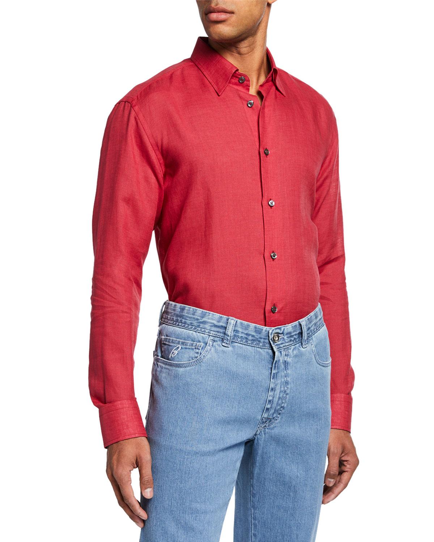 Brioni Dresses MEN'S LINEN DRESS SHIRT