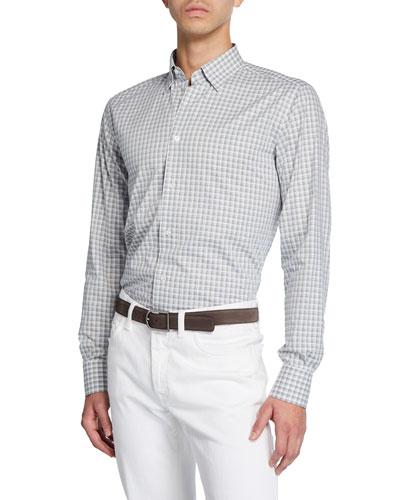 Men's Grid Check Cotton Dress Shirt
