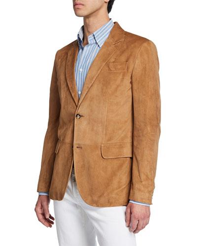 Men's Suede Two-Button Blazer