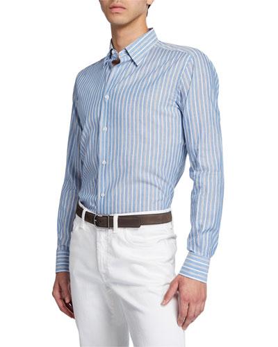 Men's Multi-Stripe Cotton/Linen Dress Shirt