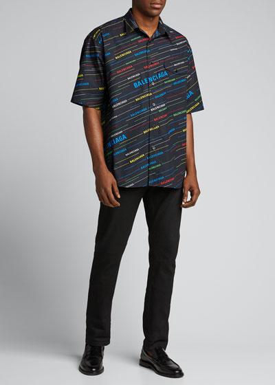 Men's Logo-Print Short-Sleeve Sport Shirt