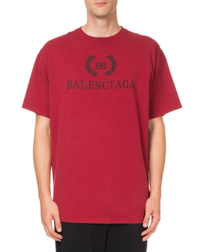 Men's Logo Typographic Oversized T-Shirt