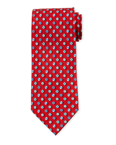 Umbrella-Print Silk Tie, Red