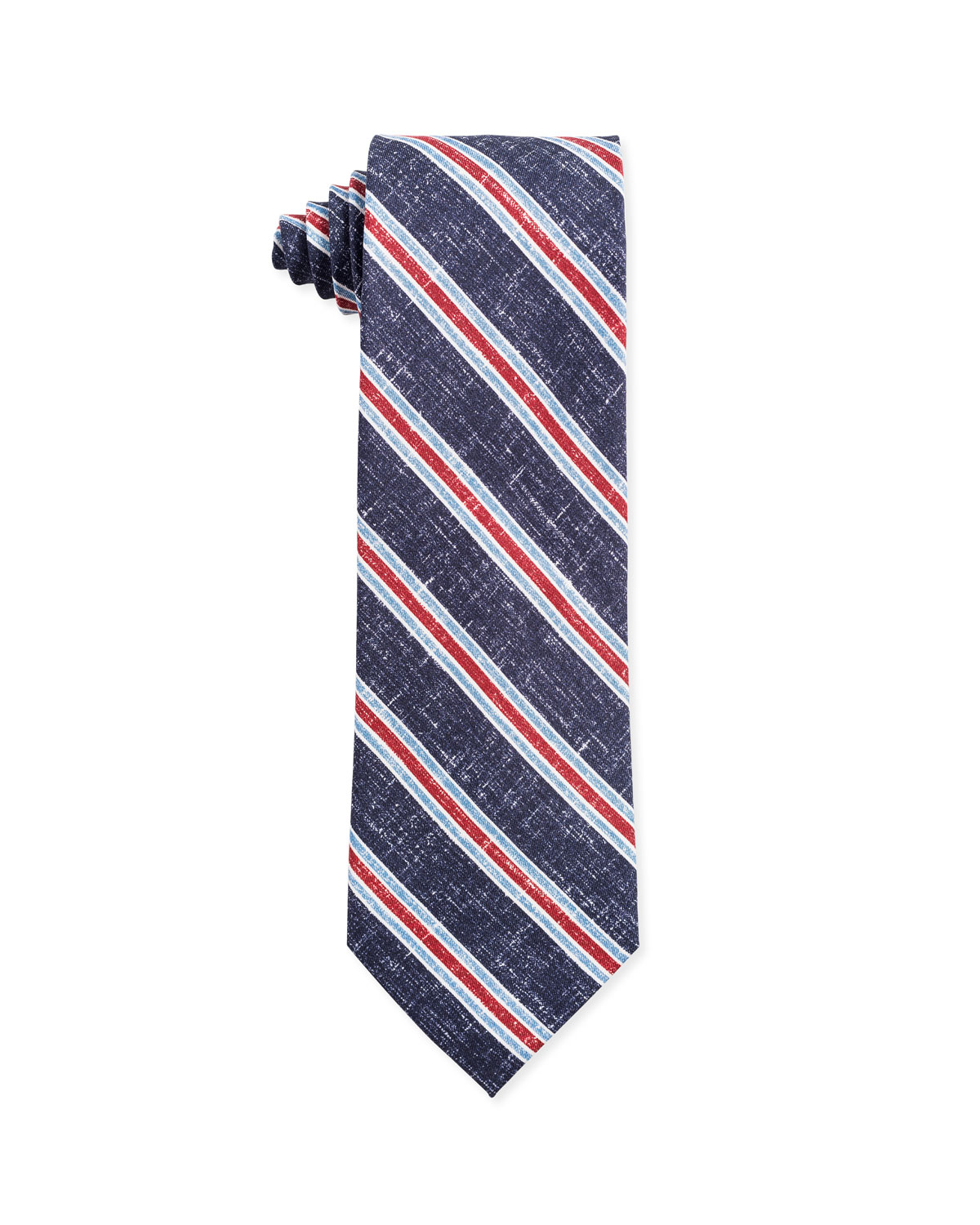 Isaia Ties TRICOLOR STRIPE SILK TIE