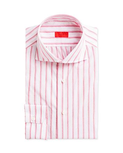 Multi-Stripe Cotton Dress Shirt, Pink