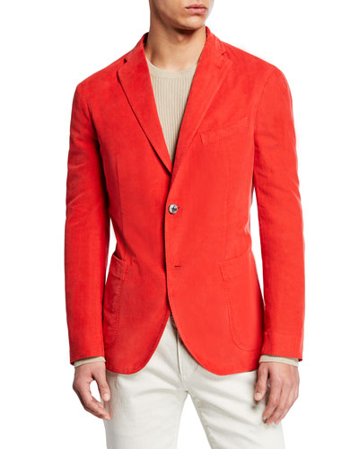 Men's Corduroy Two-Button Jacket, Red