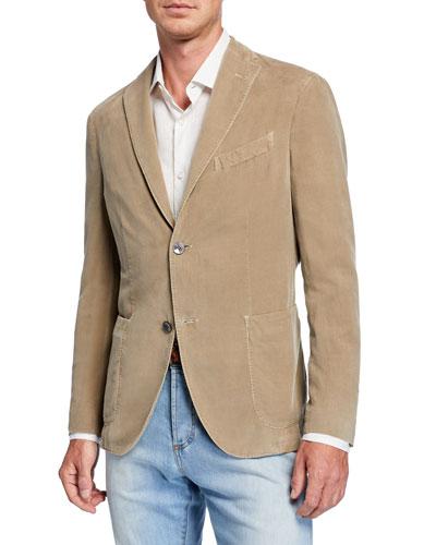 Men's Corduroy Two-Button Jacket, Tan
