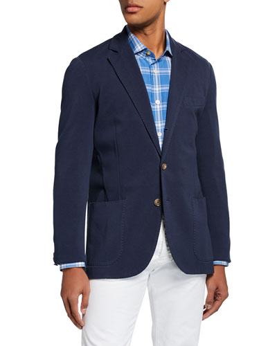 Men's Basic Knit Three-Button Jacket, Navy