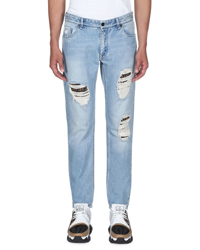 Men's Distress Logo-Patch Jeans