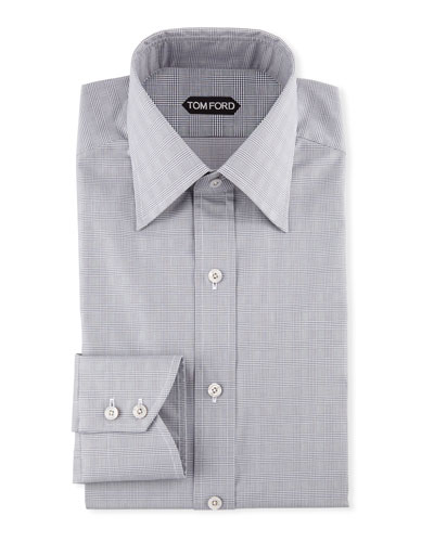 Men's Prince of Wales Pattern Dress Shirt