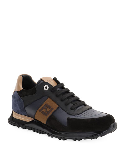 Men's FF Embroidered-Stripe Leather Runner Sneakers
