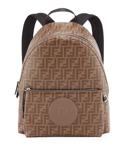 Men's FF Allover-Print Coated Canvas Backpack