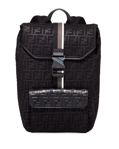 Men's FF-Embossed Mesh Flap-Top Backpack