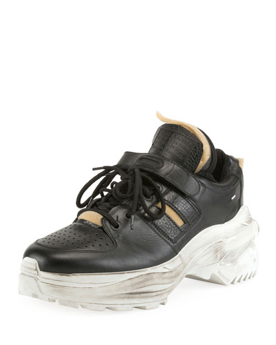 Men's Retrofit Leather Trainer Sneakers with Dirty Treatment