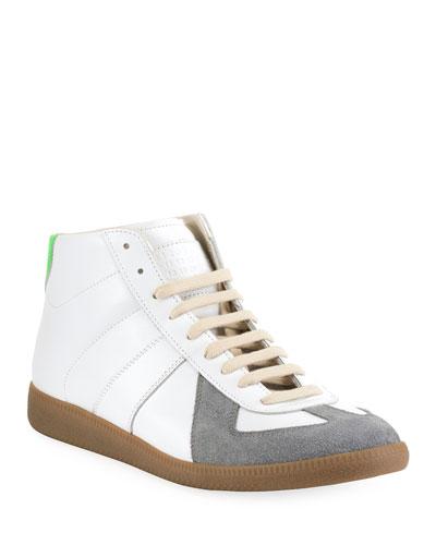 Men's Replica Leather/Suede Colorblock High-Top Sneakers