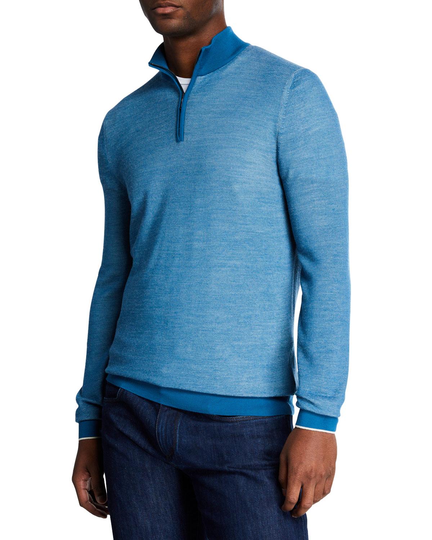 Loro Piana Sweaters MEN'S WOOL QUARTER-ZIP SWEATER