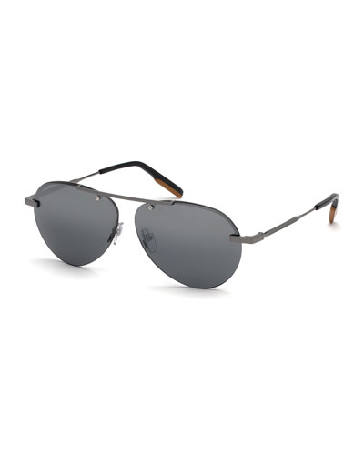 Men's Shiny Gunmetal Half-Rim Sunglasses