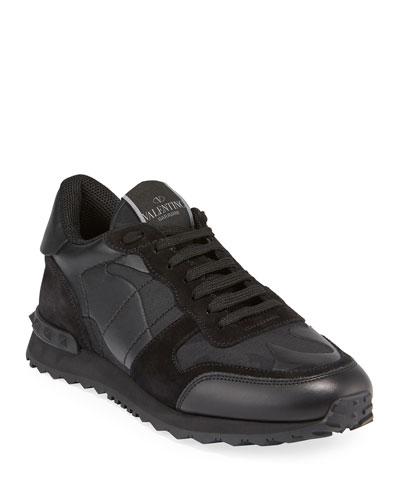 Men's Rockrunner Camo Leather Sneakers, Black