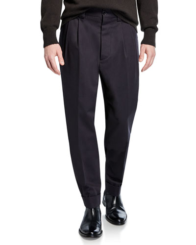 Men's Pleated-Front Tapered Trousers