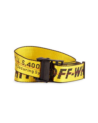 Men's Industrial Web Logo Belt, Yellow