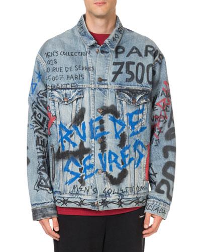 Men's Graffiti-Print Denim Jacket