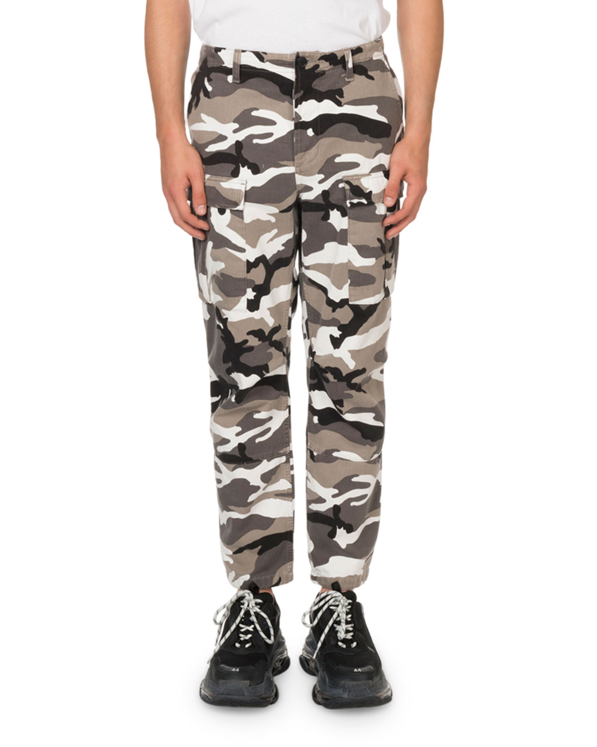 bfc79b78d565 Balenciaga Slim-Fit Camouflage-Print Cotton-Twill Cargo Trousers - Gray In  Grey