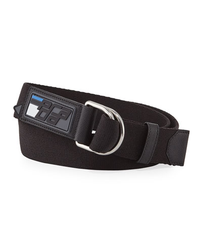Prada Men's Nastro Rubber D-Ring Belt