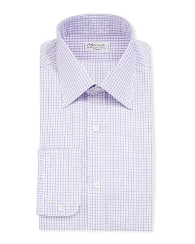Men's Long-Sleeve Tattersall Dress Shirt