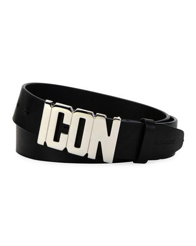 Men's Leather Icon-Buckle Belt