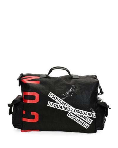 Men's Logo Typographic Canvas Duffel Bag