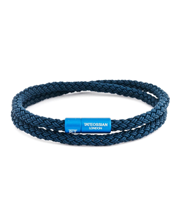 Tateossian Lingerie MEN'S RUBBER DOUBLE-WRAP BRACELET, BLUE