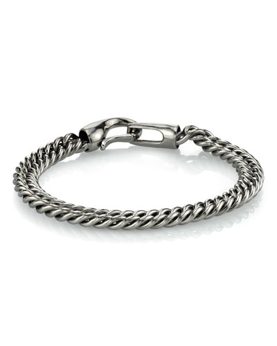 Men's Curb Chain Bracelet with Connecting Clasp, 8mm