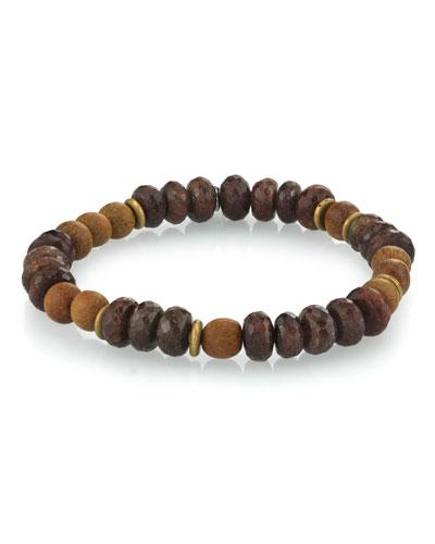 Men's Coffee Quartz & Sandalwood Bracelet, Size M