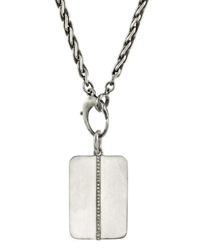 Mr. Lowe Men's Linear Diamond Dog Tag Necklace