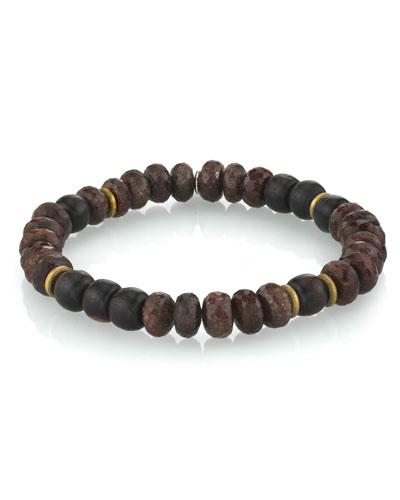 Men's Coffee Quartz Bracelet w/ Ebony, Size M
