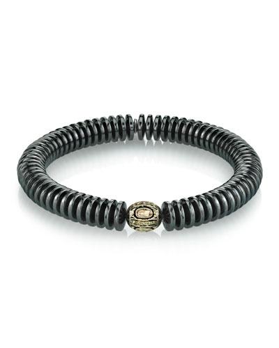 Men's 10mm Hematite & Diamond Bracelet, Size M