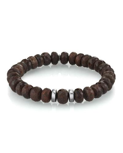 Men's Coffee Quartz Bracelet, Size M